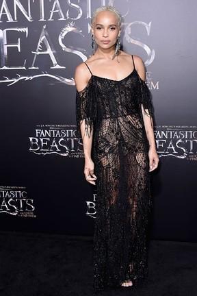 Zoe Kravitz em première de filme em Nova York, nos Estados Unidos (Foto: Michael Loccisano/ Getty Images/ AFP)