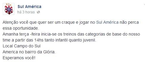 Sul América (Foto: Reprodução/Facebook)