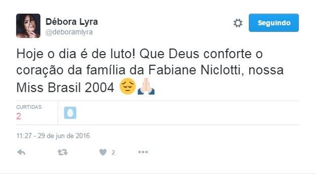 Débora Lyra fala sobre morte de Miss Brasil 2004 (Foto: Reprodução / Twitter)