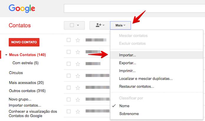 Importando contatos para o Gmail (Foto: Reprodução/Helito Bijora)