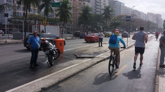 Ressaca Praia de Copacabana estúdio olímpico pista interditada (Foto: Eduardo Orgler)