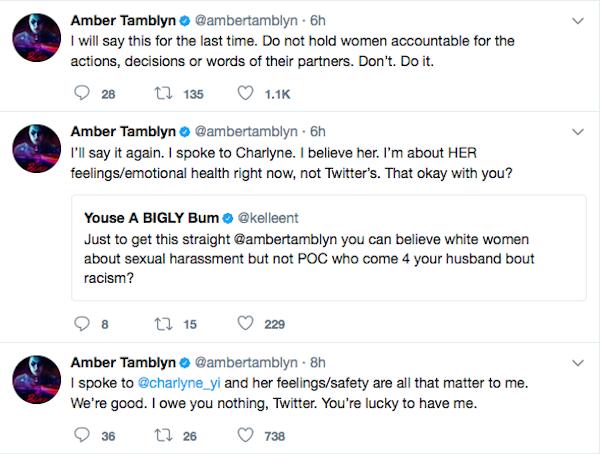As declarações da atriz Amber Tamblyn em relação às acusações de racismo de seu marido, o ator David Cross (Foto: Twitter)