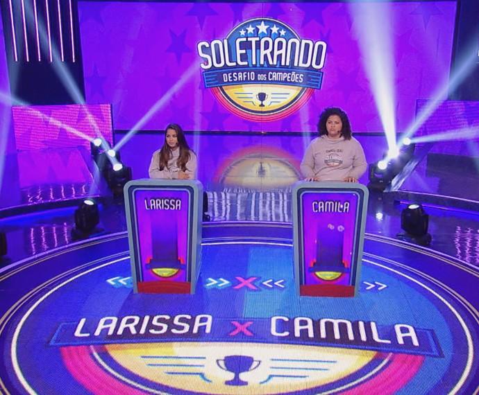 Larissa e Camila disputaram mais uma etapa do Soletrando (Foto: TV Globo)