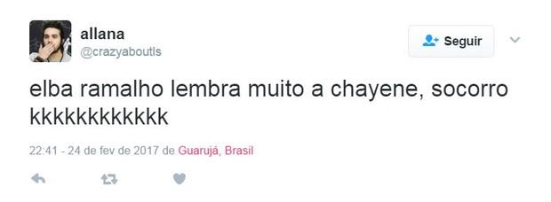 Internautas comparam Elba Ramalho com Chayenne, de Cheias de Charme (Foto: Reprodução/Twitter)