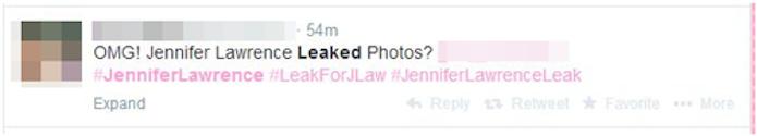 Postagem no Twitter que espalhar vírus utilizando um suposto vídeo com fotos da atriz Jennifer Lawrence (Foto: Reprodução/Twitter)