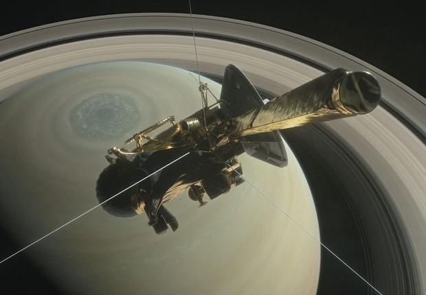 Ilustração da sonda Cassini, da Nasa, que explorou Saturno (Foto: Nasa)