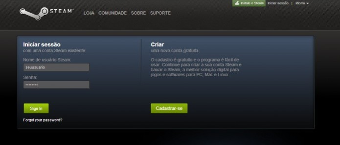 Steam: Realize o login em sua conta antes de tudo (Foto: Reprodução/Paulo Vasconcellos)