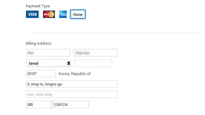 Na tela de pagamento, clique em None e pesquise um endereço na Coreia do Sul para preencher nos campos (Foto: Reprodução/Tais Carvalho)