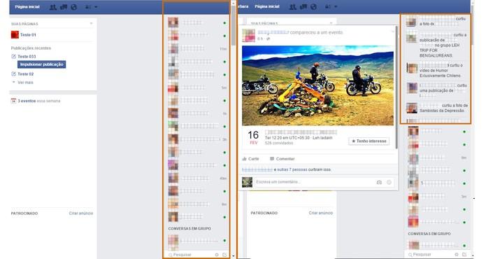 Resultado à esquerda mostra o chat expandido na lateral e à direito com a barra de novidades (Foto: Reprodução/Barbara Mannara)