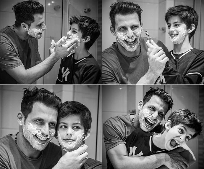 Henri e Lucas se divertem brincando de aprender a barbear (Foto: Raphael Dias/Gshow)
