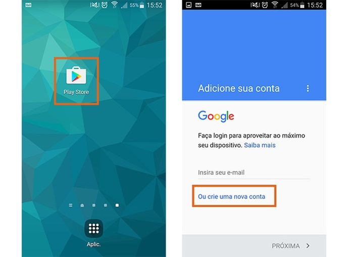 Crie uma nova conta Google para usar a Play Store (Foto: Reprodução/Barbara Mannara)