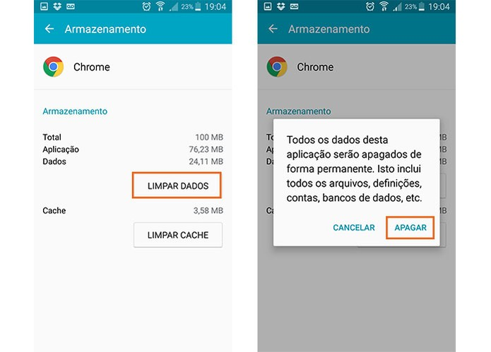 Limpe os dados do Chrome armazenados no Android (Foto: Reprodução/Barbara Mannara) (Foto: Limpe os dados do Chrome armazenados no Android (Foto: Reprodução/Barbara Mannara))