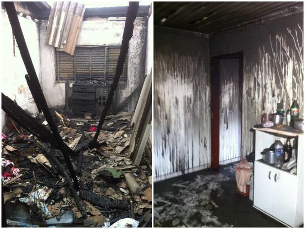 Casa pegou fogo durante falta de energia elétrica na região (Foto: Moisés Soares/TV TEM)