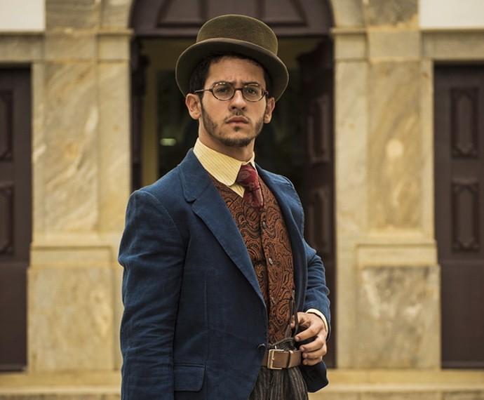 David Lucas como Jack, um detetive cheio de astúcia, mas... atrapalhado (Foto: João Cotta/TV Globo)