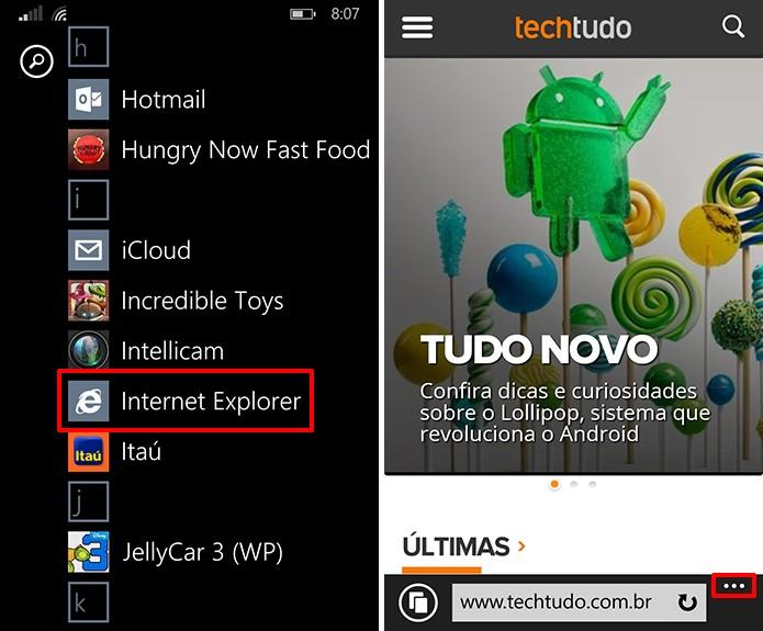 Internet Explorer do Windows Phone pode fixar site na tela inicial do sistema (Foto: Reprodução/Elson de Souza)