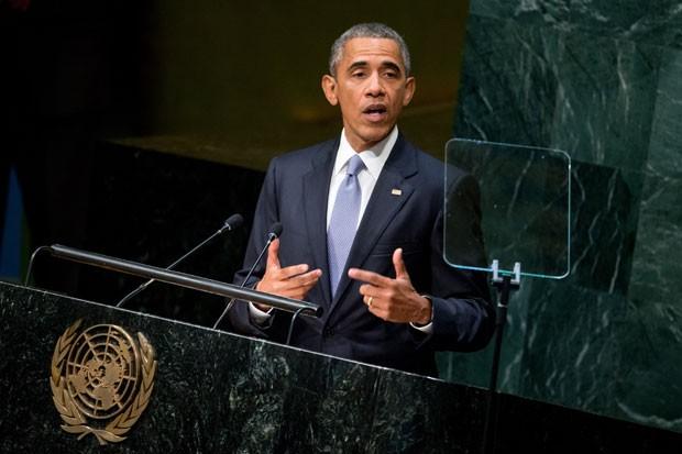 O presidente dos Estados Unidos, Barack Obama, durante a Assembleia Geral da ONU nesta segunda-feira (28) em Nova York (Foto: Andrew Harnik/AP)