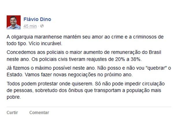 Mensagem do governador foi publicada nas redes sociais (Foto: Reprodução)