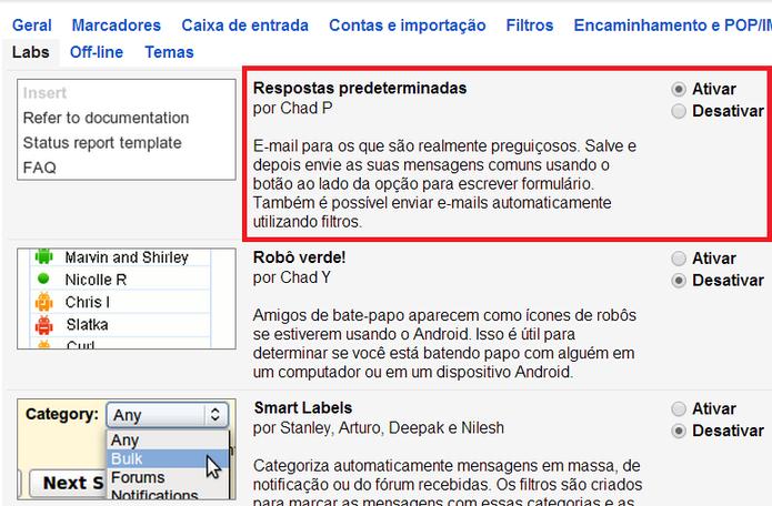 Ativação de respostas predeterminadas no Gmail (Foto: Reprodução/ Marcela Vaz)