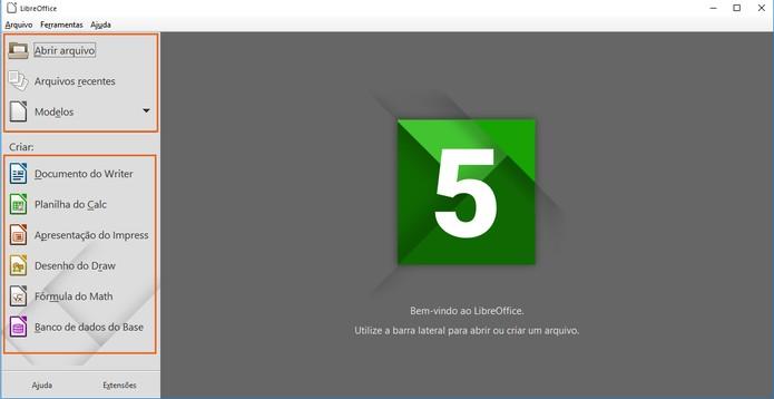 Recursos do LibreOffice ficam listados na mesma interface (Foto: Reprodução/Barbara Mannara)