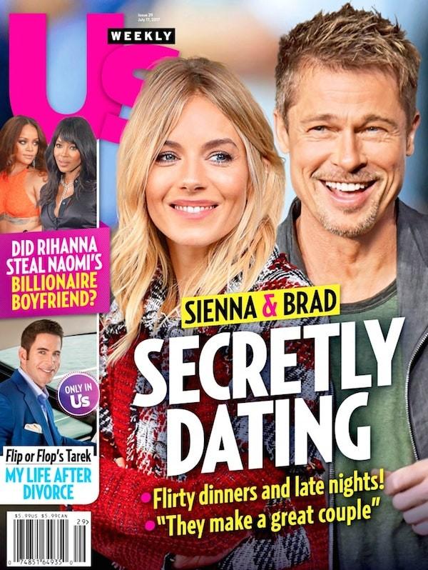 A capa da revista US Weekly revelando o namoro secreto entre Brad Pitt e Sienna Miller (Foto: Divulgação)
