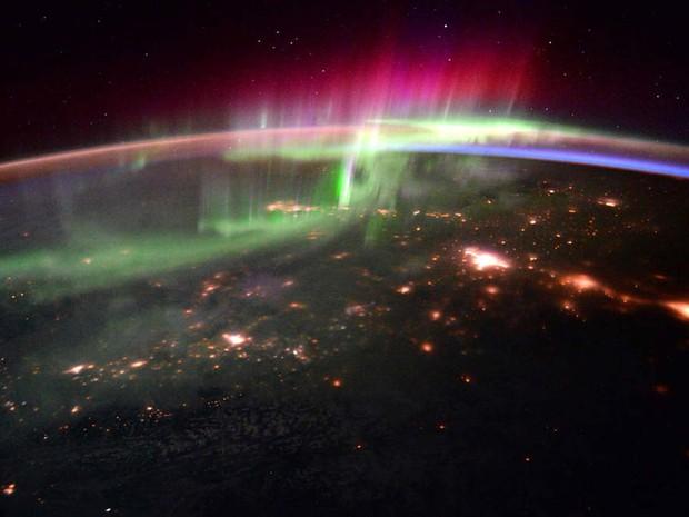 Astronauta da Nasa regista aurora boreal do espaço (Foto: ESA/NASA)