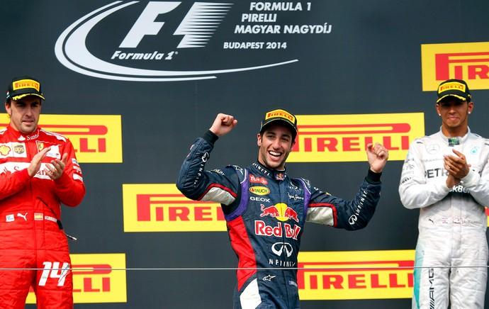 Daniel Ricciardo, Fernando Alonso e Lewis Hamilton F1 (Foto: Reuters)