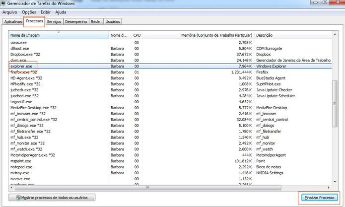Finalize o processo do explorer.exe para reiniciar a barra de menu do Windows (Foto: Reprodução/Barbara Mannara)