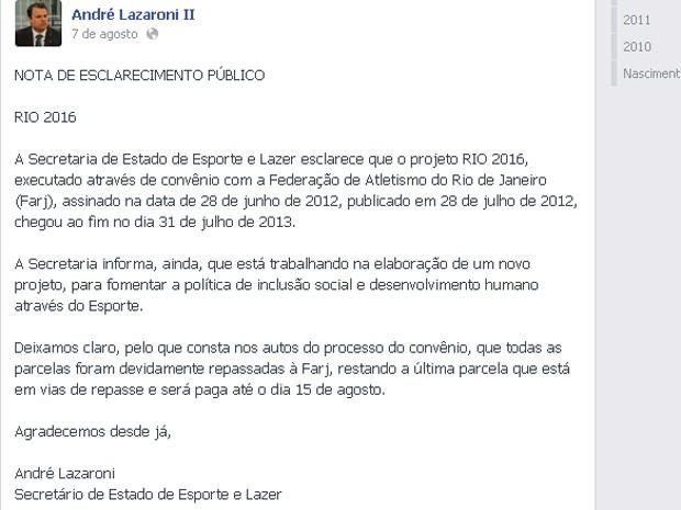 André Lazaroni falou sobre encerramento em seu Facebook (Foto: Reprodução/ TV Globo)