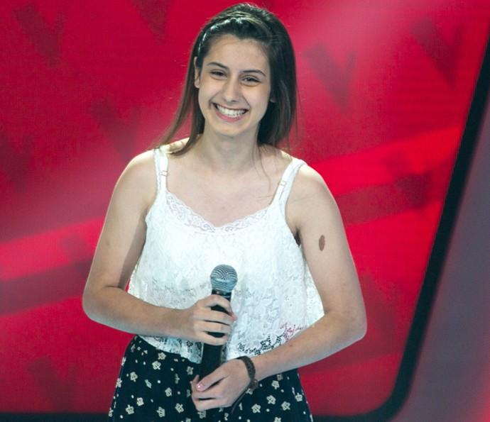 Letícia Roennau se apresenta nas Audições do The Voice Kids (Foto: Isabella Pinheiro/Gshow)