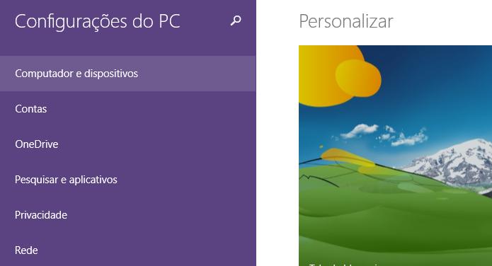 Configurações do Windows 8 (Foto: Reprodução/Helito Bijora)