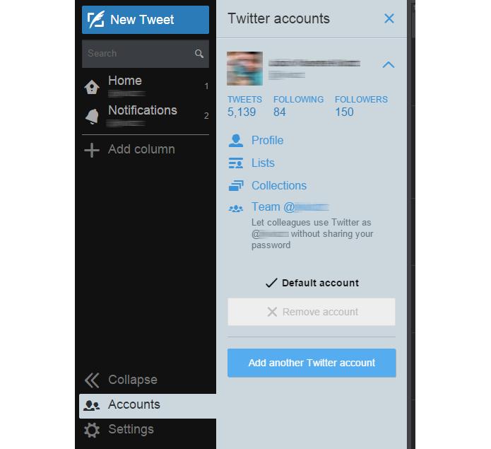 Recurso permite compartilhar contas sem revelar senhas (foto: Reprodução/TweetDeck)