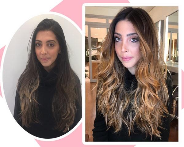 Nossa repórter Paula Mello antes e depois do hair contour  (Foto: Marie Claire)