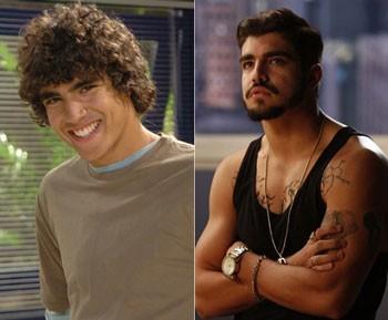 Em 2008, quando estreou em Malhação; e em 'I Love', como Grego (Foto: Fabrício Mota/TV Globo / Raphael Dias/Gshow)