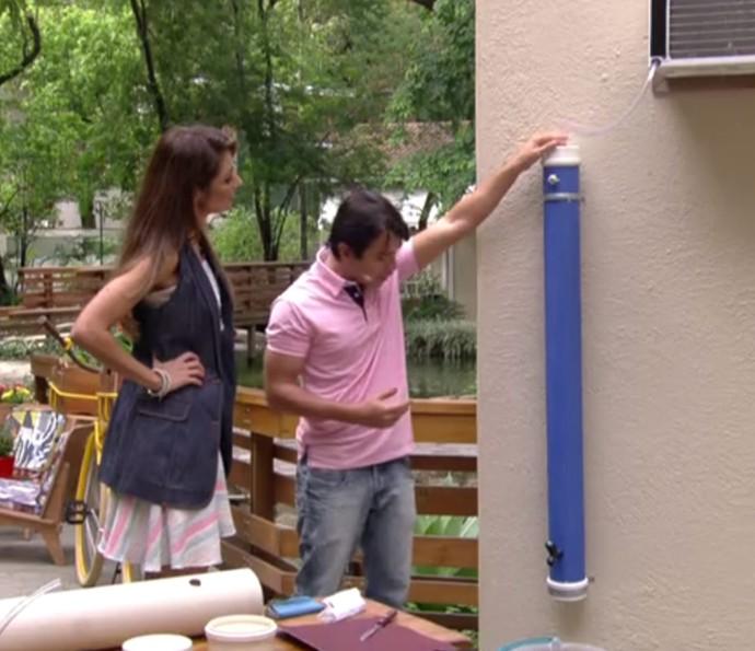 Tiago Oliveira ensina a fazer reservatório para aproveitar água do ar-condicionado (Foto: Reprodução)