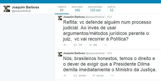 No Twitter, Joaquim Barbosa pede a demissão do ministro da Justiça, José Eduardo Cardozo (Foto: Reprodução/Twitter)