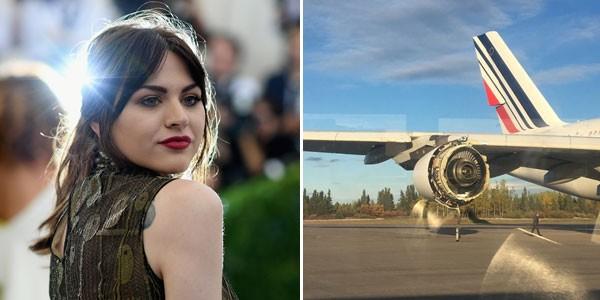 A modelo Fraces Bean Cobain - ao lado, o motor danificado do avião no qual ela estava (Foto: Getty Images/reprodução)