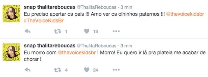 Thalita Rebouças ficou toda empolgada com os Shows Ao Vivo do The Voice Kids (Foto: Reprodução)