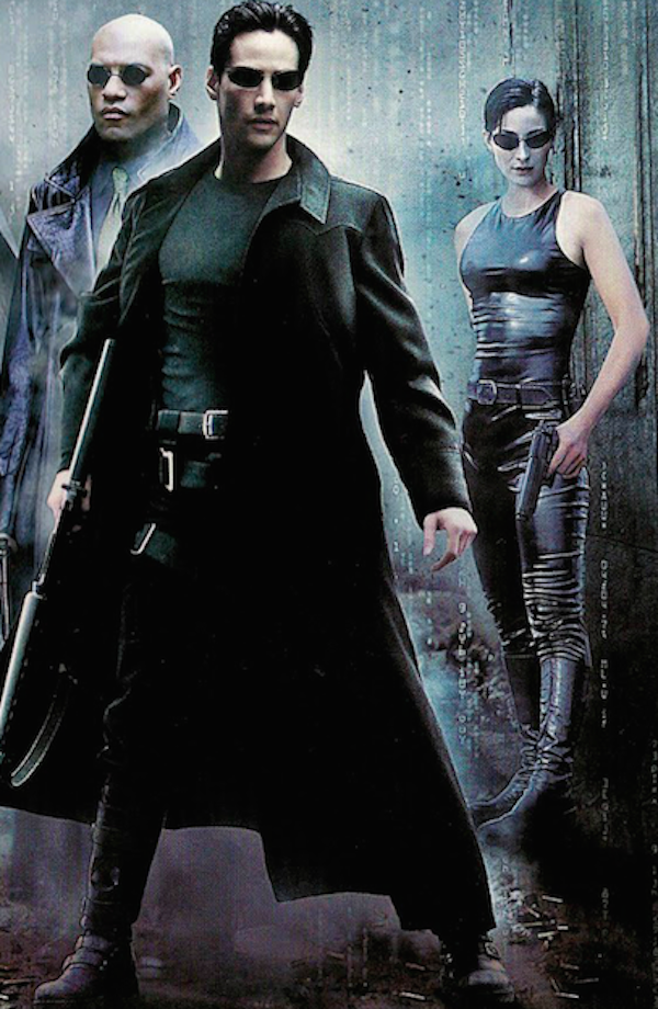Keanu Reeves, Laurence Fishburne e Carrie-Anne Moss em 'Matrix' (1999) (Foto: Reprodução)