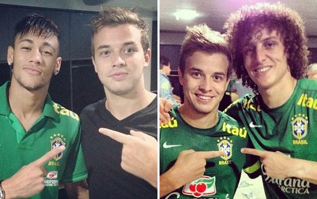 Montagem - Thomás com Neymar e DAvid Luiz treino seleção brasileira brasil (Foto: Reprodução/Instagram)