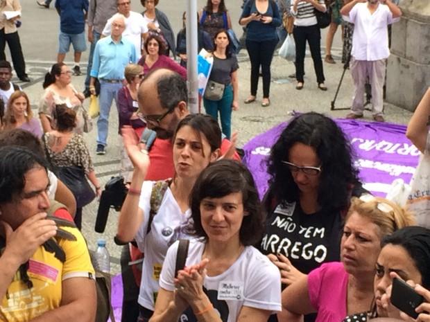 Elisa Quadros, a Sininho, participou do protesto contra Eduardo Cunha (Foto: Matheus Rodrigues / G1)