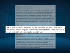 Mulheres relatam em rede social tentativa de estupro em Barão Geraldo, em Campinas (Foto: Reprodução/ EPTV)