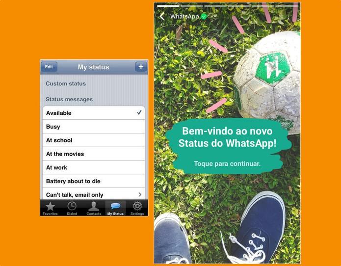 Antes e depois: status permitiam somente texto desde 2009 (Foto: Divulgação/WhatsApp)