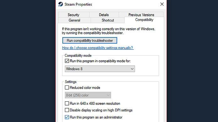 Rodar o Steam em modo de compatibilidade pode resolver o problema (Foto: Reprodução/Tais Carvalho)