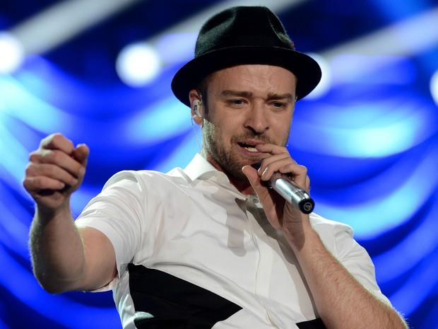 Justin Timberlake durante show no Palco Mundo neste domingo (15) (Foto: Flavio Moraes/G1)