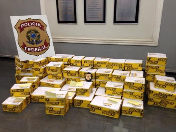 De acordo com investigações, organização distribuía o material pelos Correios e transportadoras (Foto: Divulgação / Polícia Federal)