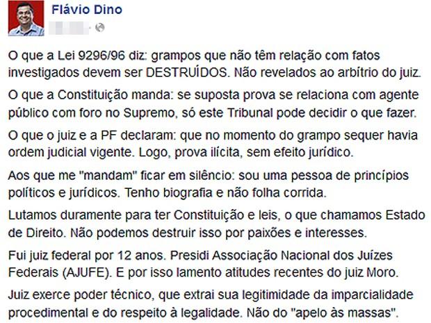 Declarações do governador Flávio Dino (PCdoB) no Facebook (Foto: Reprodução/Facebook/Flávio Dino)