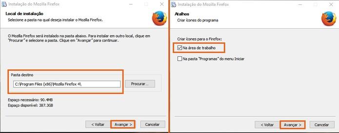 Mude a pasta de destino e adicione o atalho do segundo Firefox (Foto: Reprodução/Barbara Mannara)