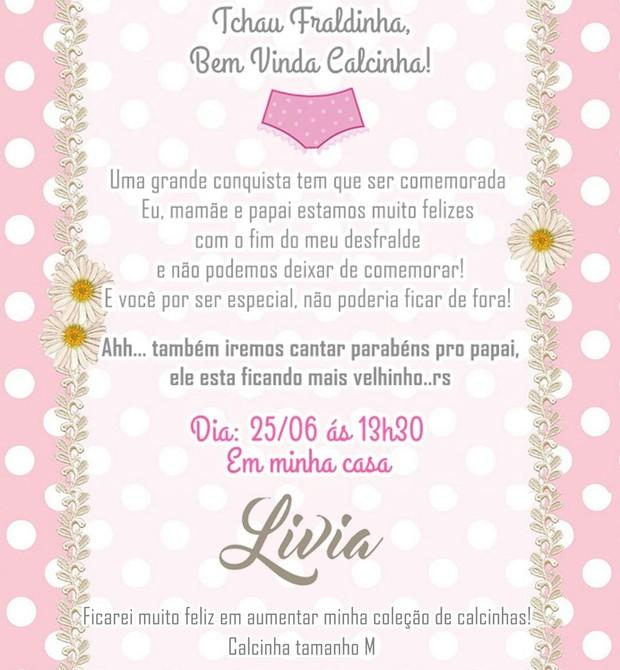 O convite feito pela família (Foto: Arquivo pessoal/Jéssyka Thaylo)