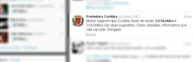 No Twitter, prefeitura brinca e diz que não vai mudar o nome da cidade (Foto: Reprodução)