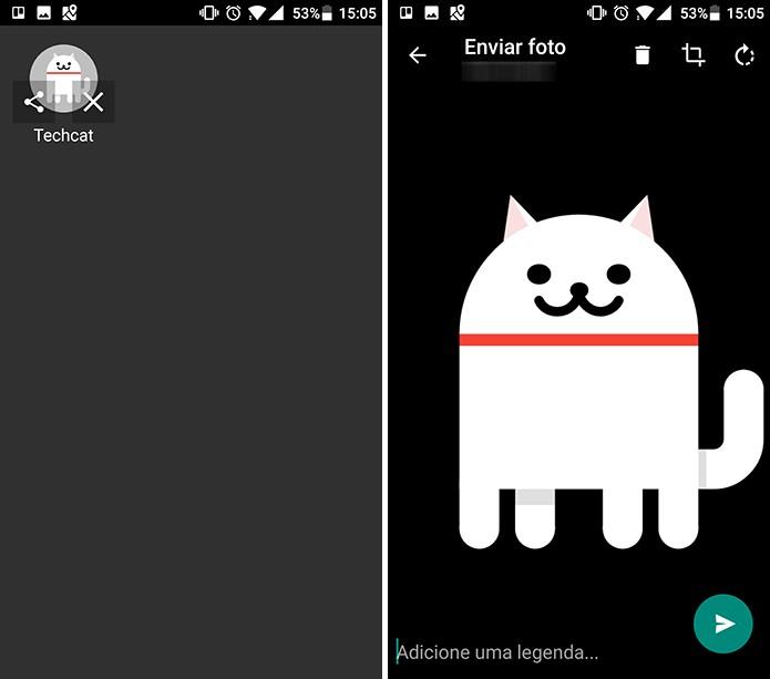 Android Neko permite que usuário compartilhe bichinho dos games com amigos (Foto: Reprodução/Elson de Souza)